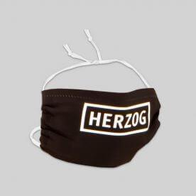 Schwarzer Mund-Nasen-Schutz mit weißem HERZOG-Logo