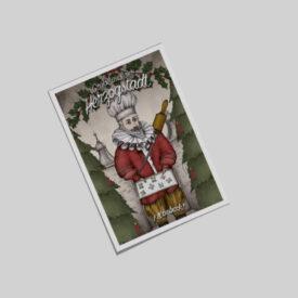 Der Herzog backt leckere Weihnachtsplätzchen mit dem Hexenturm im Hintergrund