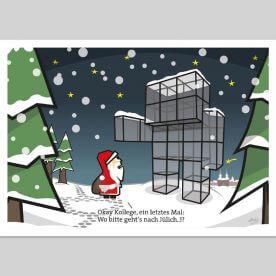 Postkarte mit dem Indemann und dem Weihnachtsmann