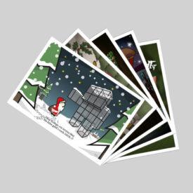 5er Set Weihnachtspostkarten